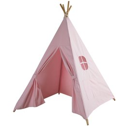 Chinese  LM1317 Four Poles Children Teepees Kids Play Tent Cotton Canvas Teepee White Playhouse for Baby Room Tipi manufacturers