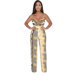 36ca2a12ee8 Europe and America Real 2018 New Style Womens Sexy contrast color print wide  leg jumpsuit