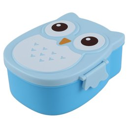 Wholesale 2x Fun Life Bento box Cartoon cute owl Bento Lunch meal box tableware blue