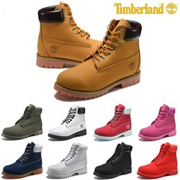 Plain fabrics online shopping - Original Timberland mens women Fashion winter boots chestnut black white red blue Grey womens men designer boot size fast shipping