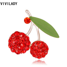 rhinestone cherry brooches UK - VIVILADY Cute Fruit Crystal Cherry Leaf Breastpin Collar Brooch Pins Broche Costume Women Rhinestone Bijoux Accessory Party Gift