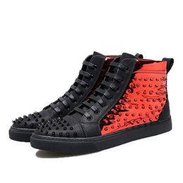 Brand High Board Shoes UK - Personalized Rivet Sequined Boots Fashion Men Black Red Board Shoes High-End Luxury Brand Flat Shoes