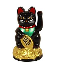 Ingrosso Mini Lucky Cat Waving Arm di AA Battey Maneki Neko Cinese Feng Shui Ornamenti Regalo aziendale Beckoning Ricchezza Fortuna Decro Home Giocattolo di plastica