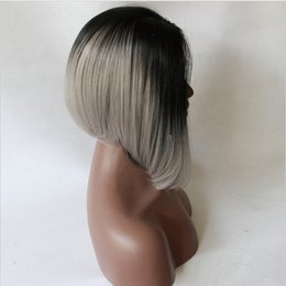 Silver Grey Synthetic Short Canada - Dark Root Ombre Gray Short Bob Wig Black Silver Synthetic Lace Front Wig Grey Short Bob Glueless Swiss Lace Wigs For Black Women