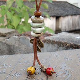 Handmade clay bead necklace online shopping - Ceramic Necklace Handmade Fabric Retro National Long Sweater Chain Rope Beads Costume Pendant Fashion High grade Clothing Women Jewelry