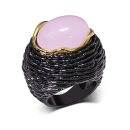 Discount black gold rings pink stones - whole saleHyperbole Cocktail Ring With Pink Stone Black & Gold Color Fashion Jewerly Luxury big Party Rings for Women