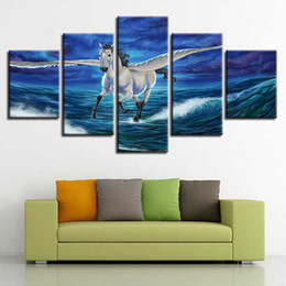 Hd Painting Horse Run Australia - HD Printing Animal Pictures 5 Pieces White Horse Wings Running Landscape Modular Canvas Painting Decoration Living Room Wall Art