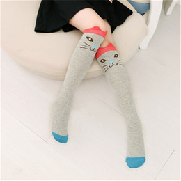 Hot girls HigH socks online shopping - 40 cm Cute Animal High Knee Socks Fox Bear Cat Lovely Cartoon Cotton Socks For Girls In Autumn Winter Hot Sale