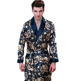 New Summer Satin Robes Male Dressing Gown Men s Long Sleeve Silk Print  Pattern Bathrobe Leisure Kimono Home Men d00fc5ad9