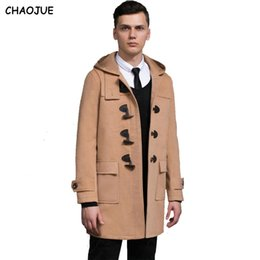 Discount black dusters - CHAOJUE Horn button hooded woolen coat 2018 preppy style male plus size imination cashmere overcoat mens camel duster co