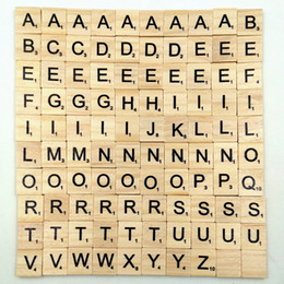 China 100pcs set Wooden Alphabet Scrabble Tiles Black Letters & Numbers For Crafts Wood OTH549 cheap wooden numbers craft suppliers