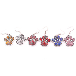 China Mix Color Crystal Alloy Paw Footprint Charm Fit For DIY Dog Or Cat Or Bear Pet Earrings Jewelry suppliers