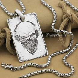 Rocker Pendants NZ - High Detail Deep Engraved Customizable 925 Sterling Silver Skull Dog Tag Mens Biker Rocker Punk Pendant 9X001 Steel Necklace 24""