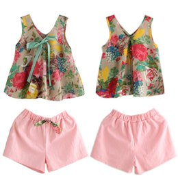 Floral two piece short set online shopping - Floral Tops Shorts Suit Girls Two piece Sets Floral Shirt with Bow Short Pants Cotton Spring Summer Girls Outfits T