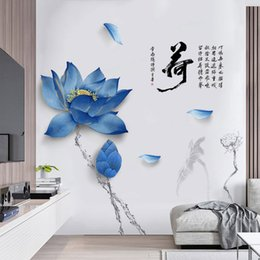 large vintage poster Canada - Large 140*200cm Lotus Flower Decoration Wall Stickers DIY Chinese Style Quotes Vintage Poster Home Decor Decals Stikers