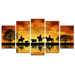 Tree Scenery Paintings UK - 5 Piece Giclee Canvas Prints Cowboy on Horseback Country Scenery Big Black Tree Silhoutte Pictures Prints for Living Room - UnStretched
