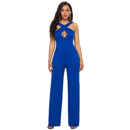 2b961ea28048 Sexy Women Solid Color Jumpsuit Twist Front Cutout Combinaison Femme 2018  Backless Sleeveless Wide Leg Pants Romper Overalls