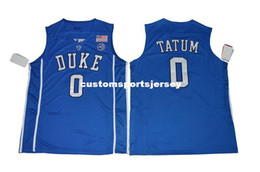 Chinese  Cheap Mens Duke Blue Devils Jayson Tatum #0 College Basketball Blue Stitched Jersey Custom any player for any name Embroidery jerseys manufacturers