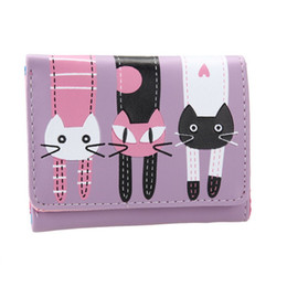 Black leather cat purse online shopping - 2018 Candy Color Lovely Cat Wallet Women Short PU Leather Wallet Female Cat Hasp Purse carteira feminina High quality Soft