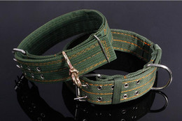 collar dog row NZ - M L Strong Canvas Nylon Dog Collar Army Green Double Row Adjustable Buckle Pet Collars For Medium Large Dog