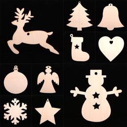 Gift Craft Christmas Ornament Australia - 10 pcs Lot Christmas Tree Ornaments Wood Chip Snowman Tree Deer Socks Hanging Pendant Christmas Decoration Xmas Gift Crafts DHL