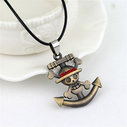 Discount pirates logos - Japanese Anime One Piece Necklace Classic Pirate Luffy Anchor Skull Logo Pendant Necklaces Going Merry Leather cord Neck