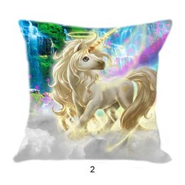 Chinese  Colorful Unicorn Pillow Case Cushion Cover Linen Cotton animal horse Throw Pillowcases sofa Bed Car Decorative Pillow Covers 2020 drop ship manufacturers