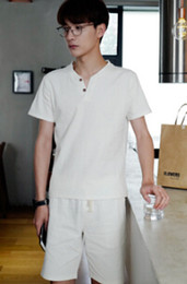 linen suit outfits 2019 - Summer New Arrival Clothing Sets Men Linen Suits 2pcs Tshirts Shorts Casual Tracksuits Solid Fashion Outfits cheap linen