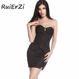 bc394c3a8dd13 Corset Waist Trainer Shaper Bustiers Zippers Corset Sexy Black Pinstripe  Overbust Office Lady Lace up Gothic Clothing