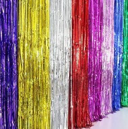 Tassel Curtain Wedding Party Decorations 1m2m Ribbon Flashing Birthday Wall Decoration Background