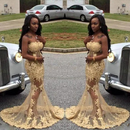 Wholesale Sexy Sheer Black Girls Prom Dresses Long Strapless Lace Appliques Mermaid Evening Party Gowns African Vestidos De Fiesta