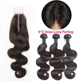 Long weave hair online shopping - 8A Brazilian Virgin Human Hair Weave Bundles With x2 Deep Long Middle Part Kim Lace Closure Peruvian Malaysian Indian Body Wave Mink Hair
