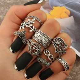 $enCountryForm.capitalKeyWord NZ - docona Boho Elephant Flower Midi Finger Rings Set for Women Punk Hollow Out Sliver Knuckle Rings Jewelry Gift 9pcs set 4618