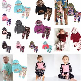 kids floral hoodies 2019 - 23styles ins Baby Kids Clothing Set cartoon printed Long Sleeve Hoodie Pants cottom Infant Clothes outfit Floral Striped