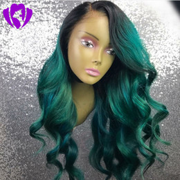 $enCountryForm.capitalKeyWord Canada - Hotsellling ombre black root green Lace Front Wigs body wave Synthetic lace wig Heat Resistant Fiber africa american women wigs