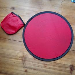 Venta al por mayor de Disco de vuelo plegable de poliéster con bolsas Polietileno en blanco Frisbee Juguetes de deportes al aire libre para la familia Juguetes de regalos comerciales Disco de vuelo plegable