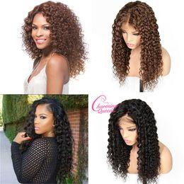 Ingrosso Parrucche dei capelli umani anteriore del merletto per le donne nere Colore naturale # 4 Pre-colte onda profonda Ricci parrucche brasiliane dei capelli di Remy con i capelli del bambino