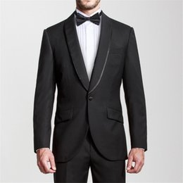 grey suits for mens wedding color NZ - One Button Men Suits Custom Made Groom Suits Black Lapel mens tuxedos for wedding Groomsmen suits (Jacket+Pants)