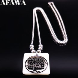 Jewelry Fashion Bead Necklaces NZ - 2018 Fashion Tree of Life Shell Stainless Steel Long Necklace Women Boho Silver Color Bead Necklace Jewelry colgantes N18525