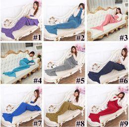 Vente en gros 90 * 50cm couvertures de sirène queue de sirène couverture tricotée enfants couverture Crochet fait main Throw Bed Wrap sac de couchage couleur mélangée