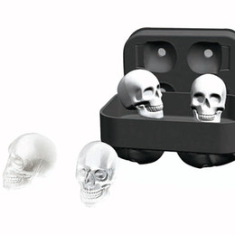 mold 3d sale UK - Hot Sale Skull Shape 3D Ice Cube Mold Maker Black Silicone Party Ice Cube Mould Skull Mold Tray Chocolate Molds