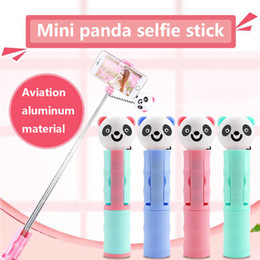 xmas iphone Canada - Mini Wired Selfie Sticks Cartoon Panda Selfie Stick For iPhone 6 6s plus Samsung Huawei Smartphone Self-Pole Xmas gift with retail box