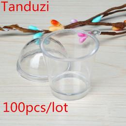 Vente en gros tasse bricolage Tanduzi 100 pcs En Gros Japonais Kawaii Rond Tiramisu Mousse Coupe Claire Avec Couverture Artificielle Parfait Tasses DIY Maison Déco Pièces