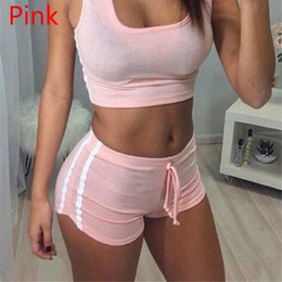Sexy Yoga Pants For Women Canada - Sexy Women Tracksuit New Short Sport Suit Fit For Yoga Sleeveless Vest Top With Hot Short Pants