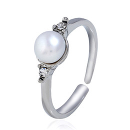 prices pearl jewelry sets NZ - Best price round imitation pearls jewelry rings free size silver plated alloy material women jewelry wedding ring yiwu factory wholesale