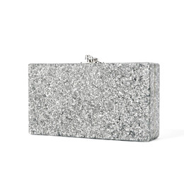 ladies big hand bags 2018 - Big Glitter Hand-poured Acrylic Clutch With Silver Tone Handware At Top Mirror At Interior Wall Purse Acrylic Box Clutch