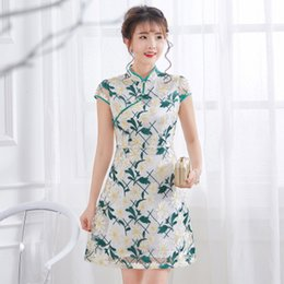 2018 improved cheongsam new style high-end fashion dignified and atmosphere  girl Chinese embroidery waist Qipao dress d569d2384680