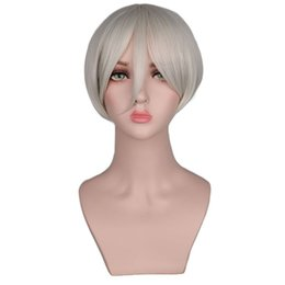 $enCountryForm.capitalKeyWord UK - Short Straight Cosplay Men Boy Party Sliver White Gray 30 Cm Synthetic Hair Wigs