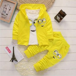 $enCountryForm.capitalKeyWord Canada - The new fashion clothing yellow people sets baby kids boys jacket+polo shirt+ pants 3-piece children clothing sets 30A
