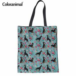 $enCountryForm.capitalKeyWord Canada - Coloranimal Canvas Doberman Flower Women Handbags Famous Design Woman Shopping Bag Hand Mujer Linen Bag Tote for Female 2018